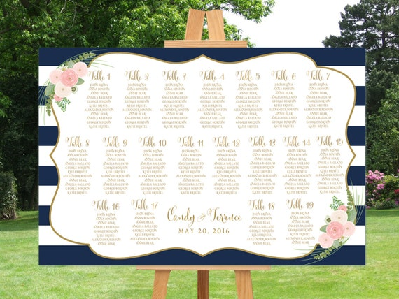 Wedding seating chart printable, navy striped guests list watercolor printable, Nautical guest list seating chart, The Shirley collection