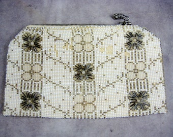 Classy Beaded Clutch Purse - Silver Bugle Beads and White Beads