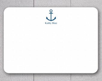 Anchor and Name Note Cards - 24pk, Personalized Flat Note Cards, Printed without Envelopes (NC-008)