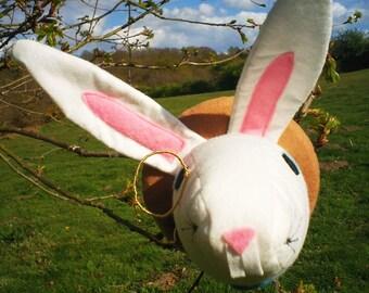Handmade Alice in Wonderland 'I'm late' White Rabbit Feltsidermy Faux Taxidermy head, with working mini clock, vegan