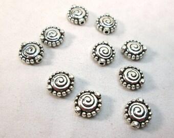 Silver Spiral Flat Round Spacer Bead 10mm (10)