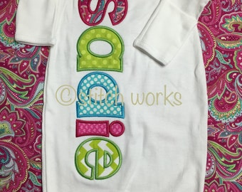 Appliqued Baby Gown