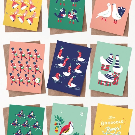 Items similar to 12 christmas greeting cards with for 12 days of christmas decoration theme