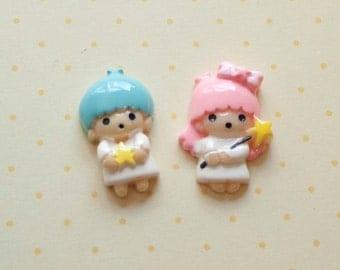 Cute Star Angel Boy and Girl Cabochons 4pcs - Gemini Cabochons