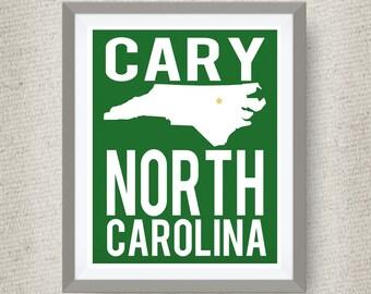 Cary Art Print, Cary North Carolina - Custom Locations & Colors Available