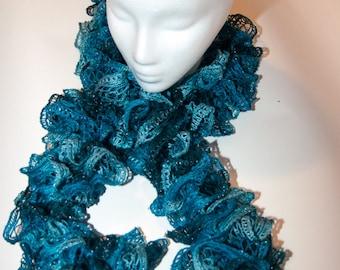 Trio of Blue Woman's Ruffle Scarf, Blue Sashay Ruffle Scarf, Blue Boa Ruffle Scarf, Hand Knit Ruffle Scarf, Handmade Ruffle Scarf