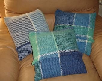 "SALE!!, Hand Woven Pillows, Wool Pillows, Blue Pillows, 14"" x 14"" pillows, Item #1,2,3  Great deal for all three."
