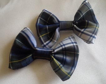 Blue Green Plaid Hair Bow