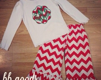 Monogram Christmas Set - Chevron Ruffle Pants