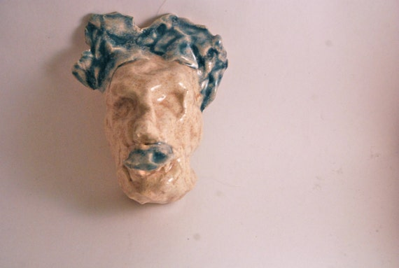 Handmade Stoneware Mask in Oatmeal and Cerulean Satin