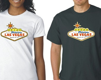 Bride and Groom Women's and Men's Married in Las Vegas T-Shirts
