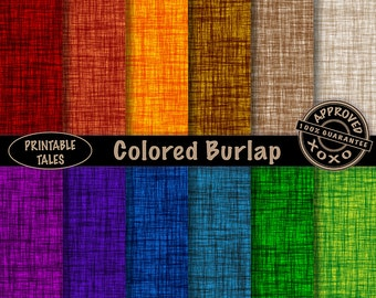 """Burlap texture digital paper """"Colored Burlap"""" rich colors like red, blue, green, purple, Linen look sheets, instant download, commercial use"""