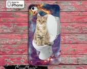 Cat On A Toilet Funny Space Kitty Galaxy Cool Tumblr Inspired iPhone 5/5s and 5c Case and iPhone 6, 6 Plus, 6s, 6s Plus + and iPhone SE Case