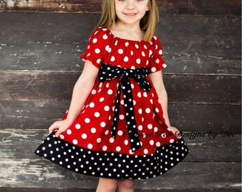 Mouse dress, theme birthday party dress, red and white polka dot dress, Costume,peasant dress toddler dress, girls dress,vacation dress