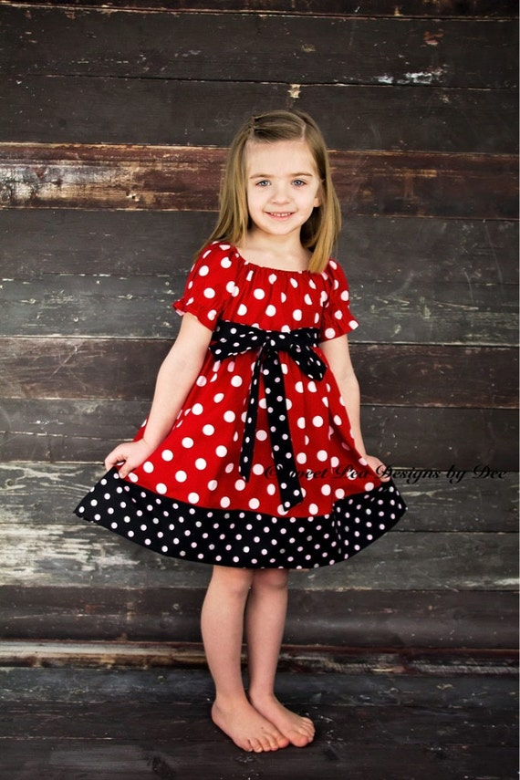Mouse dress, theme birthday party dress, red and white polka dot dress, peasant dress toddler dress, girls dress,vacation dress