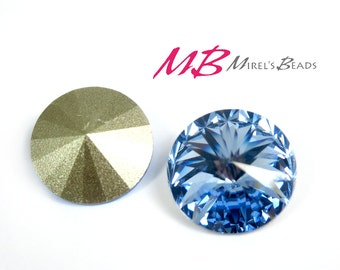SALE 35% OFF - 2pcs 14mm Blue Swarovski Crystals, Light Sapphire Swarovski Element 1122, Birthstone of March