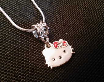 Sterling Silver Necklace / 18 20 22 24 26 28 30 in / Hello Kitty Dangling charm Bead