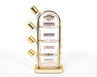 Vintage Garnier Blown Glass and Brass Liquor Dispenser