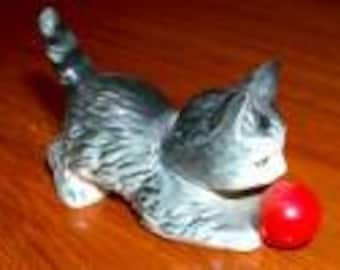 Vintage Goebel Ceramic Cat with Red Ball Figurine made in W. Germany