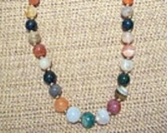 """Vintage APSARA Jewelry Genuine Multi Color Round Stone 20"""" Necklace"""