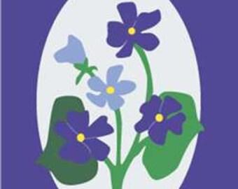 Cameo Violets Handcrafted Applique House Flag