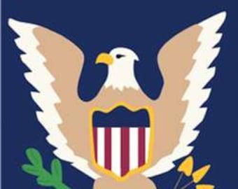 Eagle Handcrafted Applique House Flag