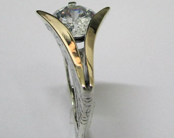 Faux Diamond Ring - Cubic Zirconia Silver and Gold Triangular Unique Heirloom Quality Designer Artisan Ring