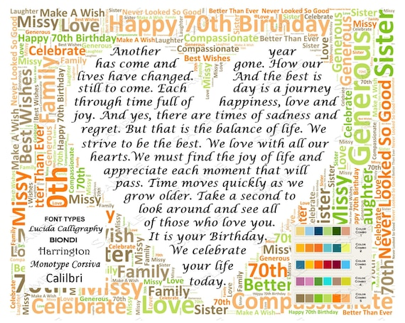 Personalized 70th Birthday Gift Poem Unique 70th Birthday – 70th Birthday Verses for Cards