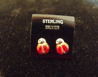 Small Lady Bug Sterling Silver Earrings