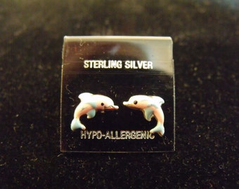 Small Pink Dolphin Sterling Silver Earrings