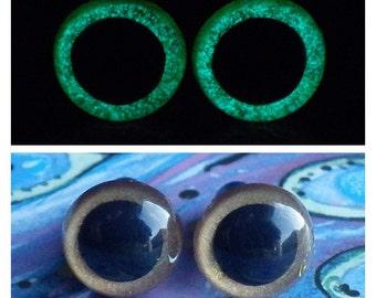 10mm Glow In The Dark Eyes, Metallic Golden Brown Safety Eyes With Aqua Green Glow, 1 Pair Of Glow In The Dark Safety Eyes