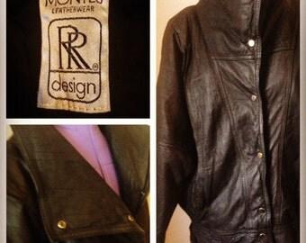 1980's vintage Black leather batwing jacket - coat by Montes Leatherwear