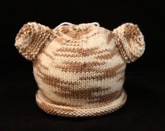 Newborn - Teddy Bear - knit baby hat - baby knit hat  - baby hat knit - newborn knit hat - knit hat newborn - newborn photo prop