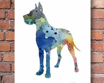 Great Dane Art Print - Abstract Watercolor Painting - Dog  - Wall Decor