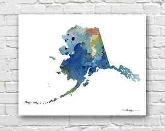Alaska Map - Abstract Watercolor Art Print - Wall Decor