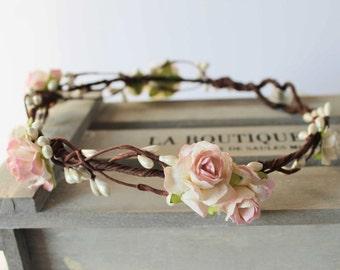 Blush Flower Crown Wedding, Flower Girl Floral Crown, Bridesmaid Flower Crown, Pink Flower Crown, Boho wedding Crown, Bridal Flower Crown