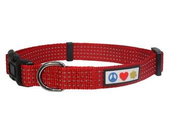 Pawtitas Reflective Dog Collar Medium 3/4 Inch Red