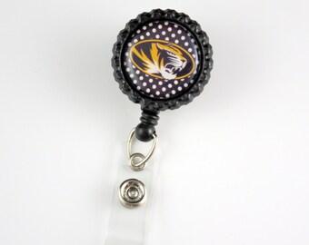 Mizzou - Retractable ID Badge Holder-Name Badge Holder-Nurses Badge-Badge Clip-Badge Reels-Pediatric-RN-Nursing Badge Holder-Sports