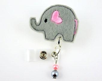 Elephant with Heart - Retractable ID Badge Holder-Name Badge Holder-Nurses Badge-Badge Clip-Badge Reels-Pediatric-RN-Nursing Badge Holder