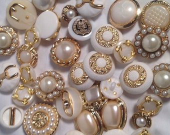 Vintage Style Buttons - Multiple Sizes - Multiple Colors - White and Gold - White and Silver