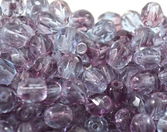5mm Czech Firepolished / Faceted glass beads Violet/Amethyst (35)