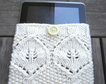 Creme white tablet cozy, knit IPad cover, elegant tablet sleeve, wool knit IPad cover, unique hand made gift, cable knit tablet sleeve
