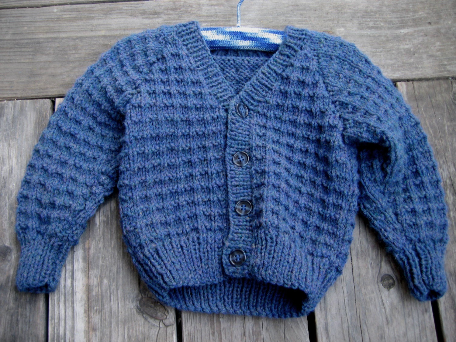 Knit blue cardigan sweater knit waffle stitch boys sweater