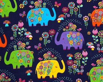 Timeless Treasures Elephant Showers Navy fabric