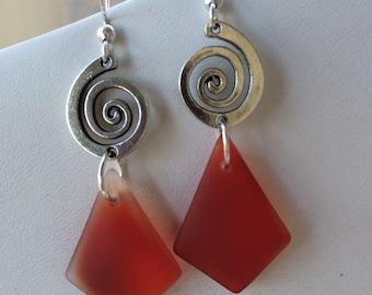 Red Spiral Drop Earrings