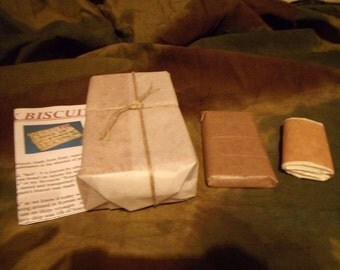 RATION-SET-Hard-Tack,Biscuits,Chocolate,Toilet-Roll-WW1 / WW2- Perfect For Re-enactment or Teaching
