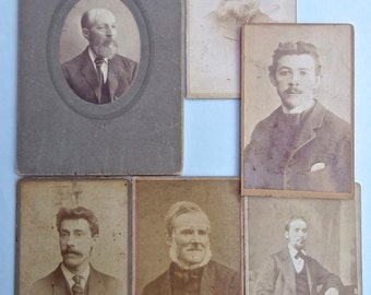 Pack of 6 Antique Victorian / Edwardian Cabinet Cards / CDVs of English Gentlemen to use for Altered Art, Journals and other Paper Crafts