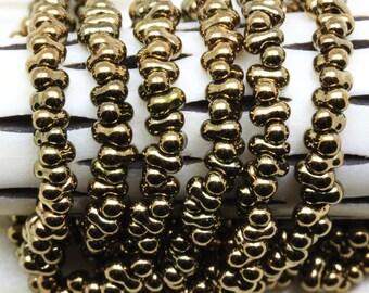 25 grams 2x4mm Golden Bronze Farfalle Japanese Glass Beads, peanut beads, berry beads, Matsuno beads