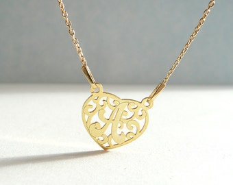 Filigree Letter A Necklace, Initial Necklace A, Gold Plated Sterling Silver Letter A, Heart Necklace, Personalized Jewelry in Atigga Shop