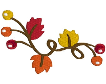 BUY 2, GET 1 FREE - (002) Fall Leaves Flourish With Fall Color Berries Machine Embroidery Design for Autumn in 3 Sizes - 4x4, 5x7, 6x10